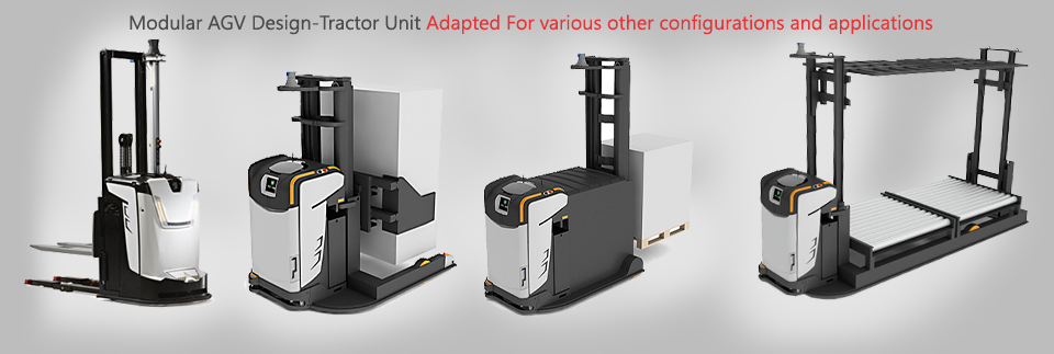 Modular AGV Design-Tractor Unit Adapted for various other configurations and applications
